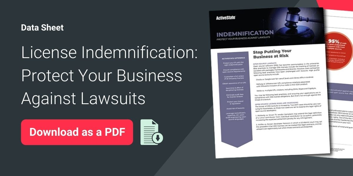 Data sheet download License Indemnification Update
