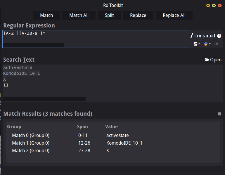 Regex Toolkit Komodo IDE