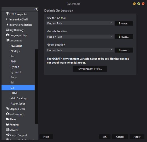Golang Preferences in Komodo IDE