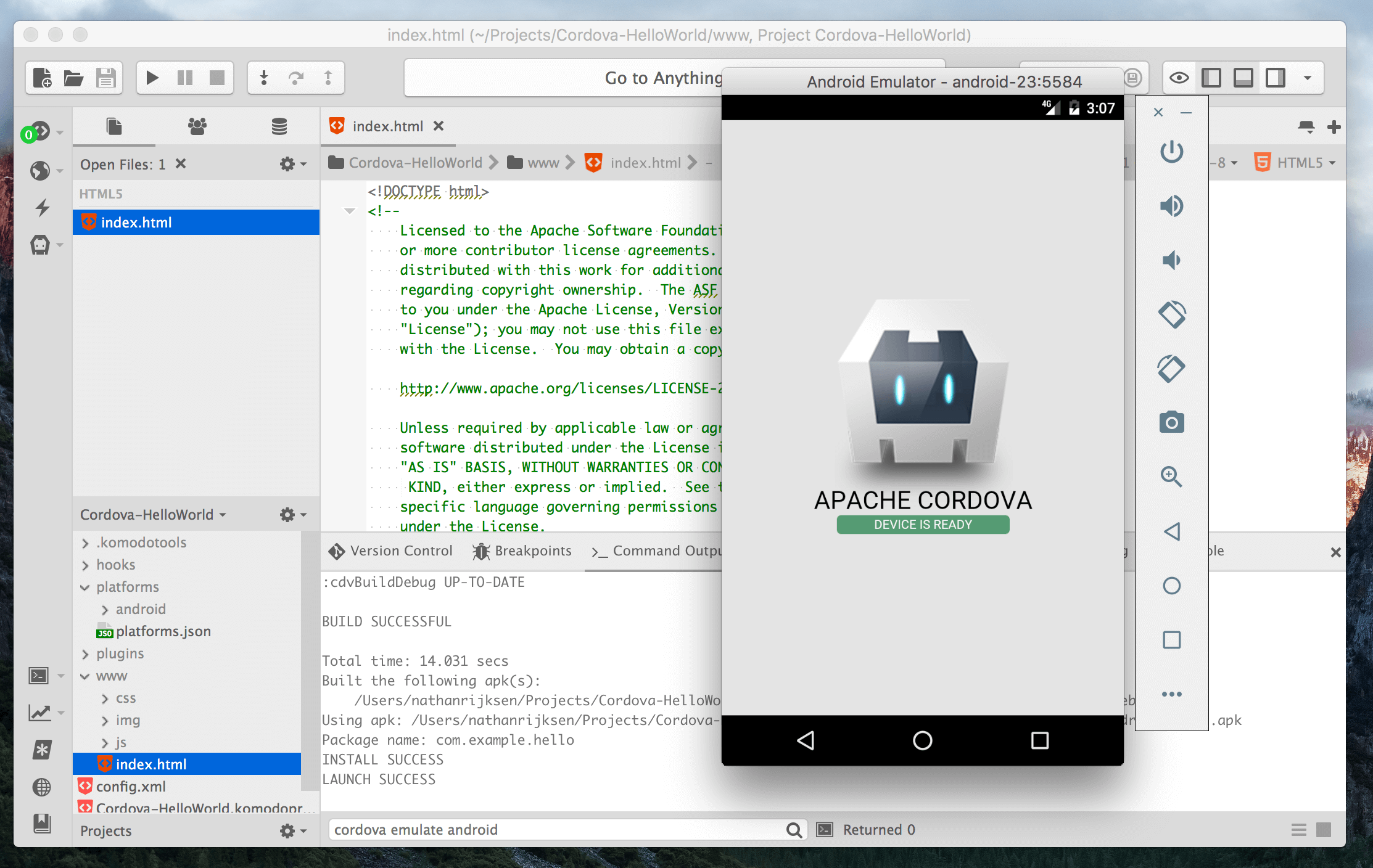 Creating Your First Android App With Cordova and Komodo IDE