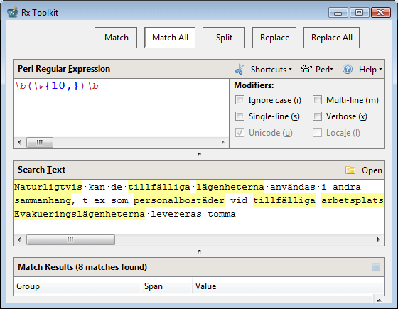 Figure 3: Rx Perl Unicode