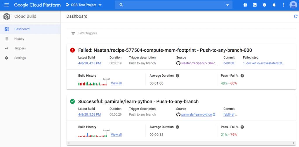 Google Cloud Build Dashboard