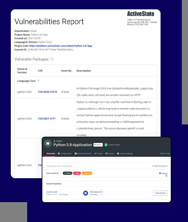 ActiveState Platform Vulnerabilities report