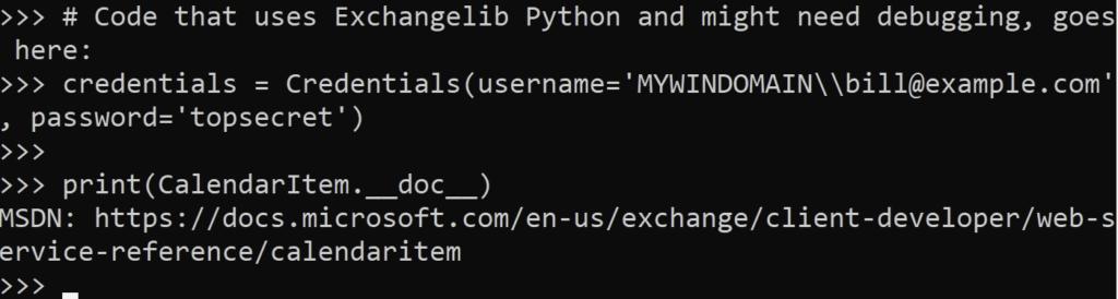 Credentials function code - exchangelib