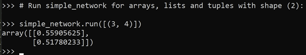 array defined by the random values of the weights