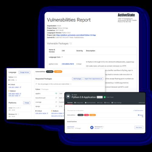 supply chain security screenshots ActiveState Platform
