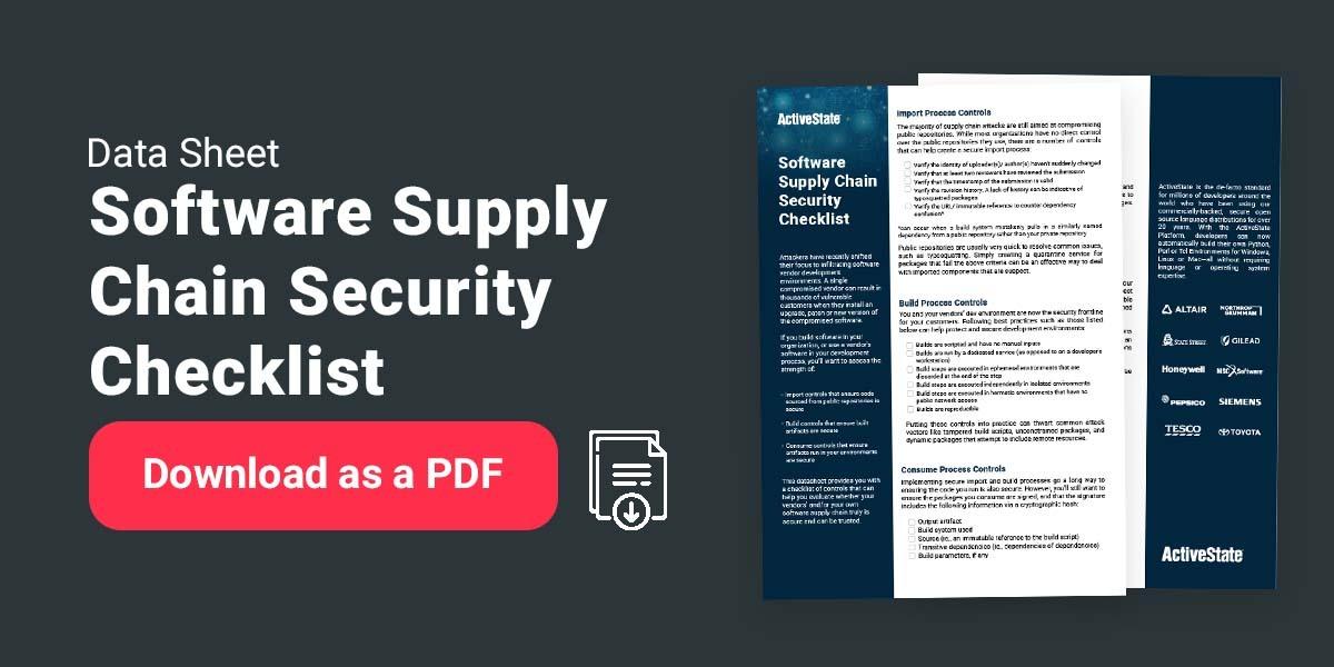 CTA ActiveState supply checklist